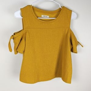 Madewell Yellow Cold Shoulder Tie Sleeve Top
